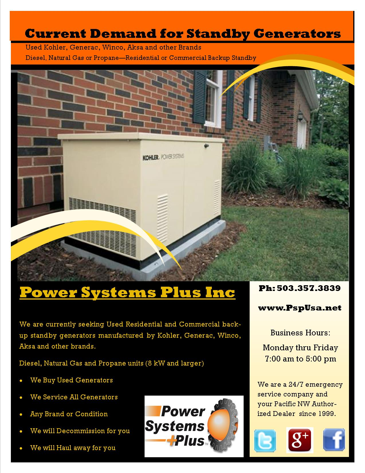 We Have Demand For Used Standby Generators Power Systems Plus