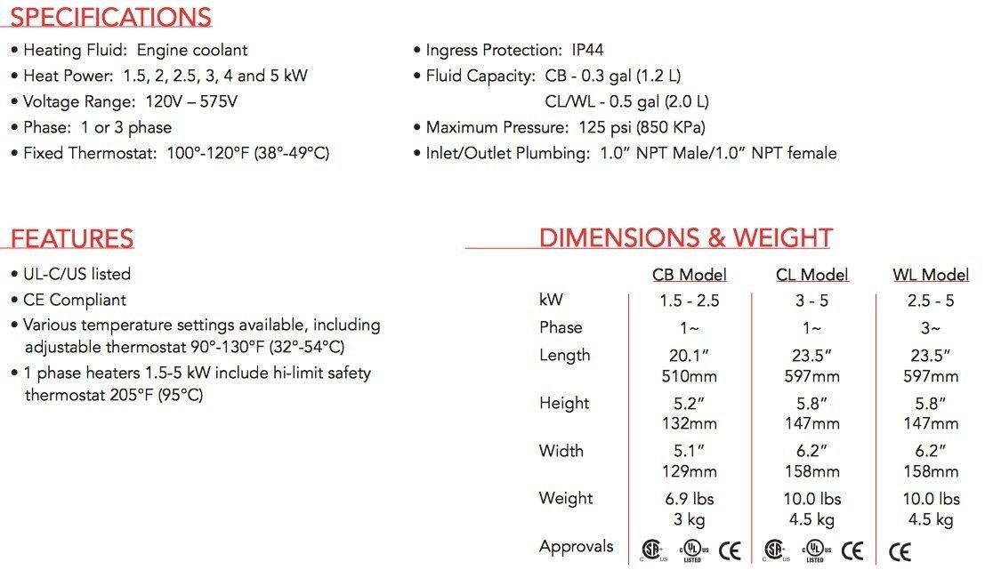 Hotstart Engine Block Heater CB125210-200 2500 Watt 240 ...
